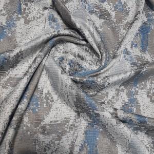 Ткань портьерная Жаккард, синий-серый