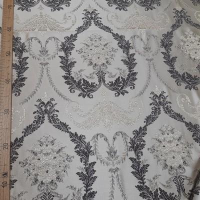 Ткань портьерная Жаккард Вензель, бежевый-коричневый