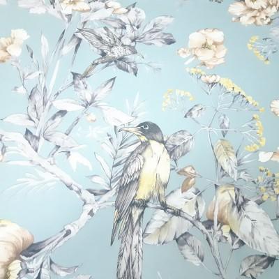 Ткань портьерная Птички, серый-небесный, h-3.0 м